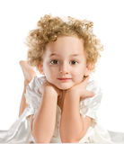 Recht lockiges blondes kleines Mädchen Lizenzfreies Stockfoto