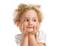 Recht lockiges blondes kleines Mädchen Lizenzfreie Stockfotografie