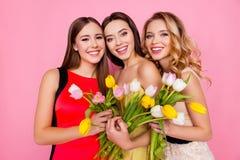 Recht nett, bezaubernd, erfolgreiches Trio von Mädchen in den Kleidern mit Stockfotos
