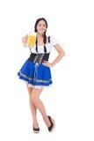 Recht oktoberfest Mädchen, das Bierkrug hält Lizenzfreie Stockbilder