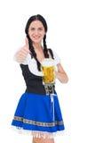 Recht oktoberfest Mädchen, das Bierkrug hält Lizenzfreies Stockfoto