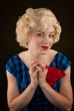 Recht Retro- blonde Frau Stockbilder