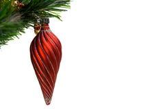 Recht rote Verzierung auf Baumzweig. Stockfoto
