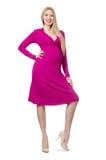 Recht schwangere Frau im rosa Kleid an lokalisiert Lizenzfreie Stockfotografie