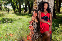 Recht schwarze Frau draußen Stockfotos