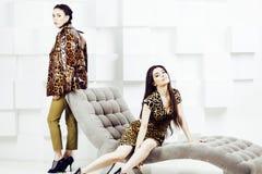 Recht stilvolles Kleid der Frau in Mode mit Leoparddruck zusammen im reichen Raumluxusinnenraum, Lebensstilleutekonzept stockfotos