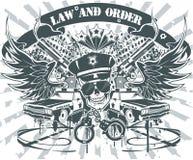 Recht und Ordnung-Emblem Stockbild