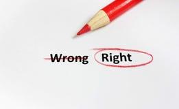 Recht of verkeerd royalty-vrije stock afbeelding