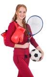 Recht weiblicher Sportler mit Ball- und Kastenhandschuhen stockbilder
