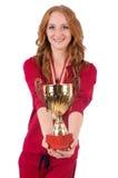 Recht weiblicher Sportler mit dem Preis an lokalisiert stockfotos