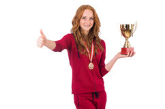 Recht weiblicher Sportler mit dem Preis an lokalisiert lizenzfreies stockfoto