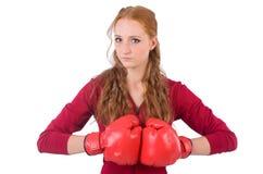 Recht weiblicher Sportler mit den Kastenhandschuhen lokalisiert lizenzfreie stockfotos