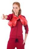 Recht weiblicher Sportler mit den Kastenhandschuhen lokalisiert stockfotos