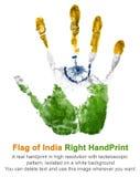 Rechte handprint Gouache in den nationalen indischen Farben des Zustandes Stockfotografie
