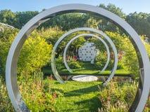 Rechte Seite Chelsea Flower Show 2017 Der Brustkrebs arbeiten jetzt im Garten: Durch das Mikroskop Lizenzfreie Stockfotos