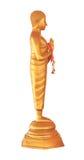 Rechte Seite goldener Buddha-Statue mit Girlande lizenzfreies stockfoto