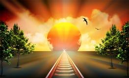 Rechte Spoorweg in oranje zonsondergang met wolken in hemel stock illustratie
