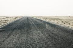 rechte woestijnweg die tot de verre leegte leiden stock fotografie