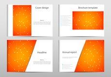 Rechteckbroschüren-Schablonenplan, Abdeckung, Jahresbericht, Zeitschrift in der Größe A4 mit Molekül-DNA-Struktur geometrisch Lizenzfreie Stockfotografie