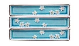 Rechteckige blaue Schüsseln mit Wasser und weißen Blumen, lokalisiert Lizenzfreie Stockfotografie