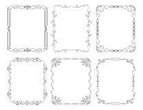 6 rechteckige dekorative Rahmen Stockfotos