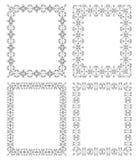 4 rechteckige geometrische Rahmen in der ethnischen Art Lizenzfreie Stockbilder