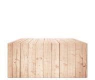 Rechteckige hellbraune Holzkiste in der vertikalen Position Stockfoto