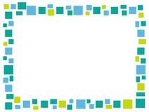 Rechteckiger blauer Mosaikrahmen auf einem weißen Hintergrund lizenzfreie stockfotografie