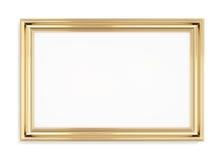Rechteckiger Goldbilderrahmen auf einem weißen Hintergrund Wiedergabe 3d Stockbilder