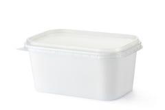 Rechteckiger Plastikbehälter für Milchspeisen Lizenzfreie Stockfotos