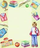 Rechteckiger Rahmen des Aquarells mit Schulfächern und Jungen lizenzfreie abbildung
