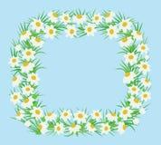Rechteckiger Rahmen von weißen Blumen in einer flachen Art Stockfoto
