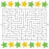 Rechteckiges Labyrinth mit Karikatur spielt auf den Seiten die Hauptrolle Ein interessantes Spiel für Kinder Einfache flache Vekt Vektor Abbildung