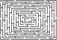 Rechteckiges Schwarzweiss-Labyrinth Stockfoto