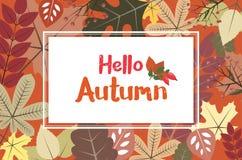 Rechteckrahmen auf herbstlichem Hintergrund mit Blättern - HALLO AUTUM stock abbildung