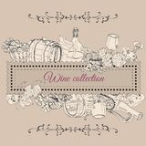 Rechteckzusammensetzung von Weinproduktelementen Handgezogene Skizzengegenstände in der Weinleseart vektor abbildung