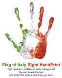 Rechter Druck in der Italien-Flaggenfarbe lokalisiert auf weißem Hintergrund Symbol von Italien und von nationalen italienischen  Lizenzfreies Stockfoto