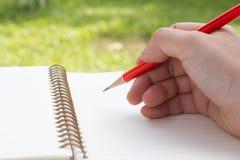 Rechtes Schreiben mit rotem Bleistift Lizenzfreie Stockbilder