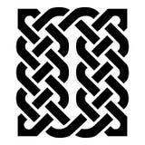 Rechthoekelement in Keltische stijl die op de patronen van de eeuwigheidsknoop in zwarte op witte die achtergrond wordt gebaseerd vector illustratie