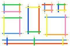 Rechthoekige die kaders van kleurpotloden worden gecreeerd stock fotografie