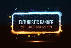 Rechthoekige futuristische banner Royalty-vrije Stock Afbeeldingen