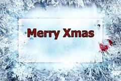 Rechthoekkader met Vrolijke Kerstmisgroet Ontworpen door glanzende sneeuwvlok schitter royalty-vrije stock foto