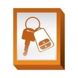 Rechthoekknoop met sleutels en keychain vector illustratie