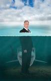 Rechtsanwalt, Geschäftsmann, Unterwasser, Haifisch, Verkäufe Lizenzfreie Stockfotos