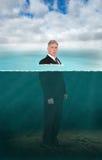 Rechtsanwalt, Geschäftsmann, Unterwasser, vermarktend, Verkäufe Lizenzfreie Stockfotos