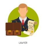 Rechtsanwalt Icon mit Aktenkoffer stock abbildung