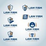 Rechtsanwaltlogo-Designschablonen Rechtsanwaltsbüro-Logosatz Der Richter, Sozietäts-Logoschablonen, Rechtsanwaltsatz der Weinlese lizenzfreie abbildung