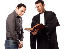 Rechtsanwaltmann und sein Klient stockbilder