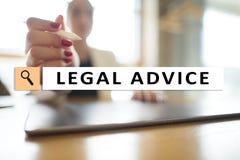 Rechtsberatung Ext. auf virtuellem Schirm beraten Rechtsanwalt am Gesetz Rechtsanwalt, Geschäfts- und Finanzkonzept lizenzfreie stockfotos