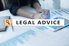 Rechtsberatung Ext. auf virtuellem Schirm beraten Rechtsanwalt am Gesetz Rechtsanwalt, Geschäfts- und Finanzkonzept stockbilder